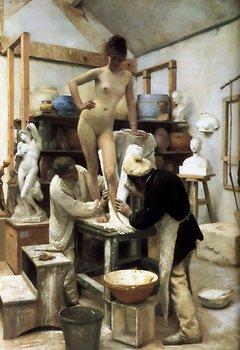 Édouard Joseph Dantan: Un Moulage sur Nature (1887) - Öl auf Leinwand, 131 x 103