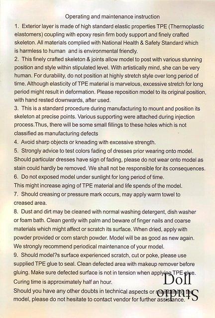WM Doll operating and maintenance instruction (c. 2019)